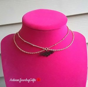16K Gold Layered Black Bat Choker Necklace